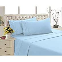 2800 Series Eco Friendly Egyptian Comfort Bamboo Style Collection Bedding 4 Piece Sheet Set (Blue, Queen)