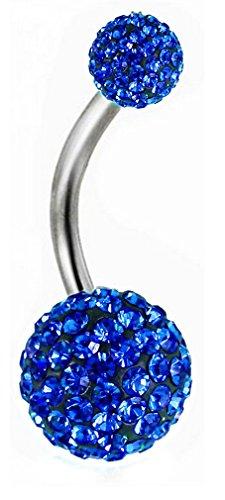 Thenice 16g 1.2mm Full Crystal Ball Navel Ring Belly Button Body Piercing Earring ()
