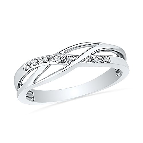 Sterling Silver Round Diamond Twisted Fashion Ring (0.05 - Round Silver Diamond Ring
