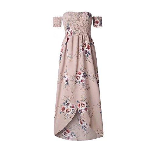 Beach Shoulder Irregular Summer TM Off Split Floral Womens Maxi Hem BetterGirl Dress Khaki xwqCpYIRx