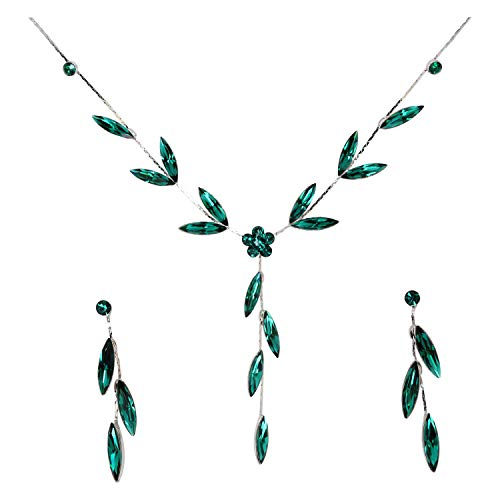 - Faship Gorgeous Green Rhinestone Crystal Necklace Earrings Set