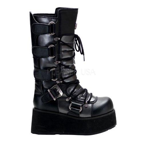 Demonia Men's/Unisex 3 1/4 Inch Platform Goth Punk Lace Up Calf Boot (Black/Grey Pu;5)