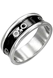 Male & Female Symbol Ring w/ Round Edge. Stainless Steel and Black Enamel Ring. Transgender LGBT Pride Ring
