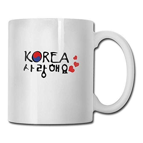 JTNF Ceramic Coffee Mugs Tea Cup, 11-Ounce, White Love South Korea In Korean Txt Tea Cup Novelty Gift for Lovers -