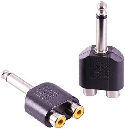 NancyMissY 慎重に設計された耐久性のある2x 6.35mmオスモノプラグおよびデュアルRCAメスジャックオーディオケーブルアダプターコネクター