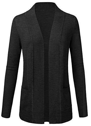 Long Sleeve Open Front Draped Rib Banded Sweater Cardigan with Pockets (Charcoal, 2XL)