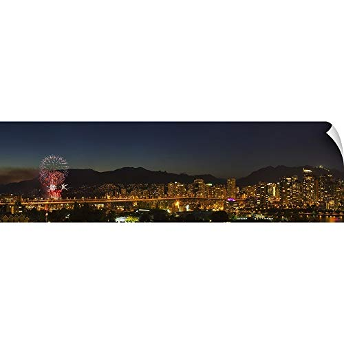 72 British Light (CANVAS ON DEMAND Robert Postma Wall Peel Wall Art Print Entitled Fireworks Over English Bay During The Celebration of Light, Vancouver,British Columbia 72