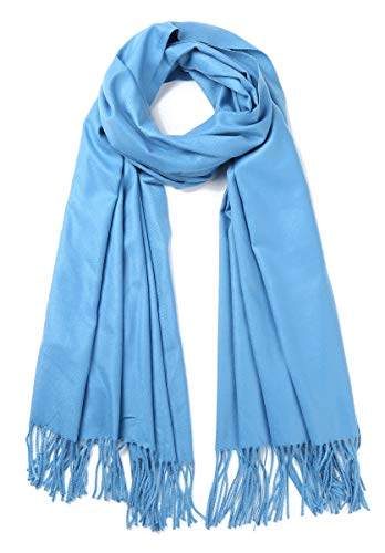 Cindy amp Wendy Large Soft Cashmere Feel Pashmina Solid Shawl Wrap Scarf for Women Bright Sky Blue