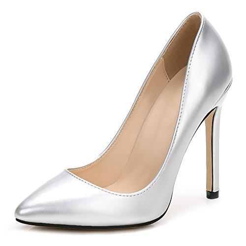 Dress Slip A Silver Pumps On Toe High Pointy Stilettos fereshte Women's Heels 8wt1ZZ