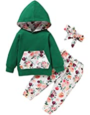 Alunsito Baby Girls Clothes Set Long Sleeve Hoodie Sweatshirt Top + Pants + Headband Little Kids Floral Tracksuit Outfit