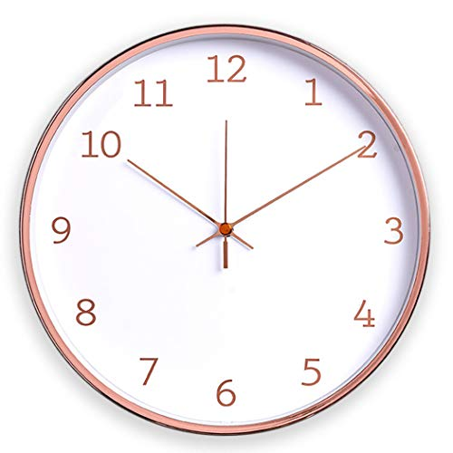 Comodo Casa Metal Wall Clock-Rose Gold Frame-Glass Cover-Non Ticking-Quartz Sweep-Silent 12 inch Luxury Clocks,Snow White