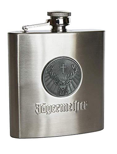 Jagermeister Stainless Steel Flask - Round  Stag Logo Medallion