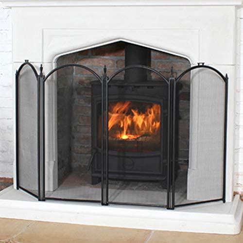 大型暖炉スクリーン4パネル、華やかな錬鉄製ブラックメタル暖炉置き場装飾ゲート、赤ちゃんの安全な証拠フェンス鋼スパークガードカバー