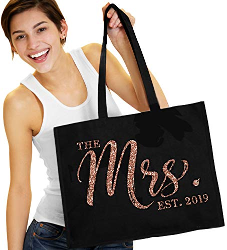 Mrs. 2019 Rose Gold Tote - The Mrs. Est. 2019 Rose Gold Glitter CHIC Tote Bag - Bride To Be Gift - Black Tote(Chic 2019 RsG) Blk -