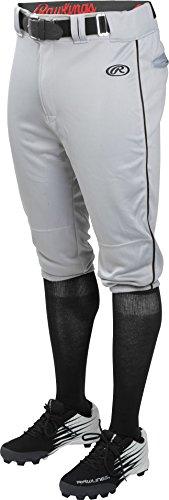 Rawlings Youth Launch Knicker Piped Baseball Pant Gray/Black Stripe Youth Medium