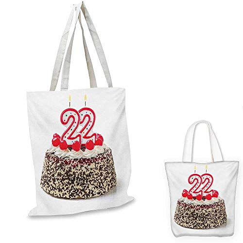 22nd Birthday shopping tote bag Chocolate and Cake with Cherries and Candles Festive Year Celebration Display travel shopping bag Multicolor. 14