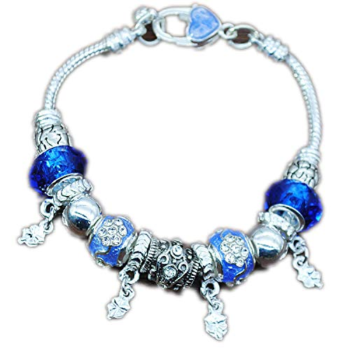 DIY Charm Beads Bracelet Women 6 Colors Choice Plated Silver Bracelet Women Jewelry Gifts,Blue