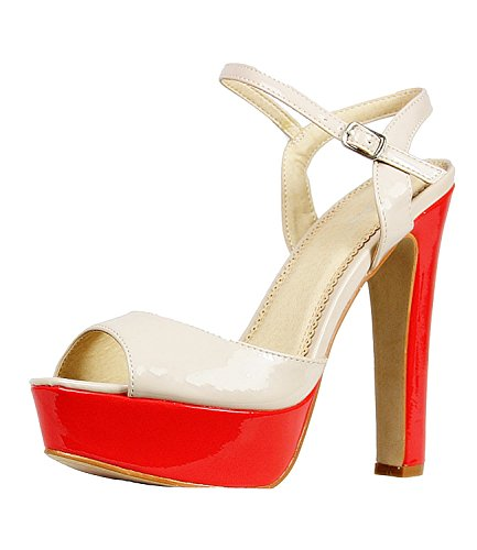 Damen Sandalette Damenschuhe Plateau High Heel 10341n Weiß