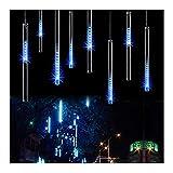 OMGAI 30cm 8 Tubes 144 LED Meteor Shower Rain Lights,Drop/Icicle Snow Falling Raindrop Cascading lights for Wedding party Christmas - Blue