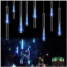 OMGAI Waterproof Meteor Shower Rain Lights - 30cm 8 Tubes Drop Icicle Snow Falling Raindrop Cascading Lights for Wedding Party Christmas, Shine Blue (UL Listed Plug)