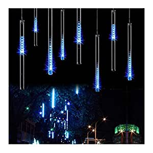 OMGAI 30cm 8 Tubes 144 LED Meteor Shower Rain Lights,Drop/Icicle Snow Falling Raindrop Cascading lights for Wedding party Christmas - Blue