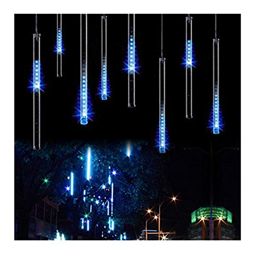 OMGAI Waterproof Meteor Shower Rain Lights - 30cm 8 Tubes Drop Icicle Snow Falling Raindrop Cascading Lights for Wedding Party Christmas, Shine Blue (UL Listed Plug)]()