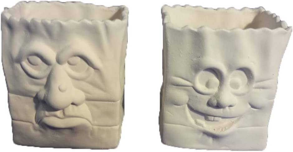 Ready to Paint Scary Halloween Face Bags 5 Set of 2 Ceramic Bisque
