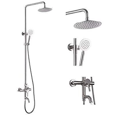 Stainless Steel SUS304 Silver Shower faucet Set Wall Mount Triple Function Shower System 8 inches Shower Head Bathroom Adjustable Hand Spray Rainfall Brushed Nickel Shower Faucet Complete Set