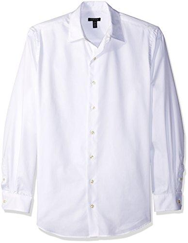 Sateen Stripe Cotton Dress Shirt - Van Heusen Men's Big and Tall Long Sleeve Stripe Sateen Shirt, Bright White, X-Large Tall
