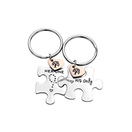 2PC Jewelry Stainless Steel Puzzle Couple Keychain for Him &Her Gift for Girlfriend Boyfriend Best Friend (her one his