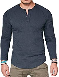 Men's Solid Color Buttons Long Sleeve Round Neck T-Shirts