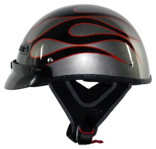 (Vega XTS Half Helmet with Flame on Titanium Graphics(Black,)