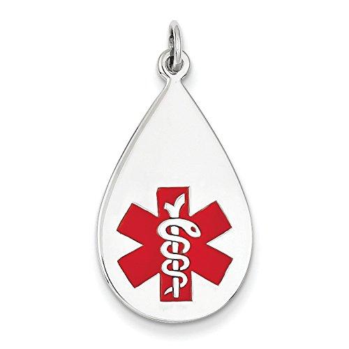 Or blanc 14 carats avec pendentif JewelryWeb médical