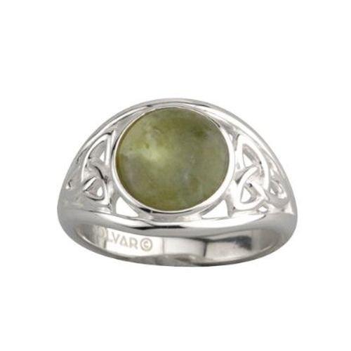 Silver Connemara Marble - Solvar Trinity Knot Ring Silver & Connemara Marble Sz 6