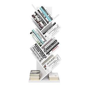 Homfa Bibliothèque Arbre Étagère à Livres Forme Arbre Artistique Casier Bibliothèque en Bois Meuble de Rangement pour Chambre Salon Bureau Blanc