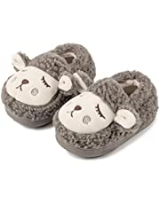 DimaiGlobal Baby Boys Girls Slipper Shoes Anti-Slip Soft Sole Cotton Kint Crib Shoes Elastic Toddler Cartoon Moccasins Warm Slippers Cozy Gripper Bottom