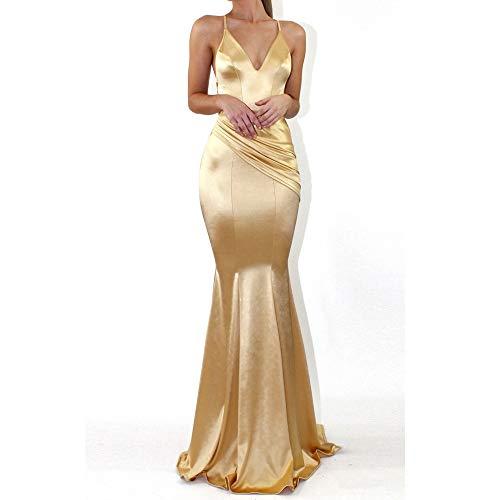 Stoota Women Sexy V-Neck Elegant Maxi Dress A-line Floor Length Party Dress Prom Dress -