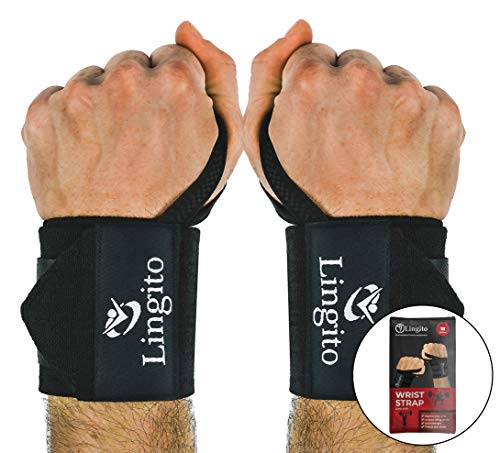(Lingito Wrist Wraps | Professional with Thumb Loops | Wrist Support Braces for Men & Women | Weight Lifting, Powerlifting, Strength Training (Less)