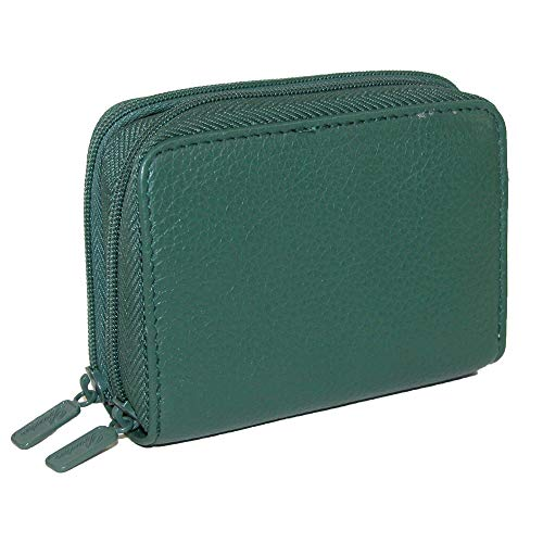 Buxton Womens Leather Mini Accordion Wizard Wallet, Credit Card Case, Coin Purse, Id Holder, (Pineneedle Green) ()