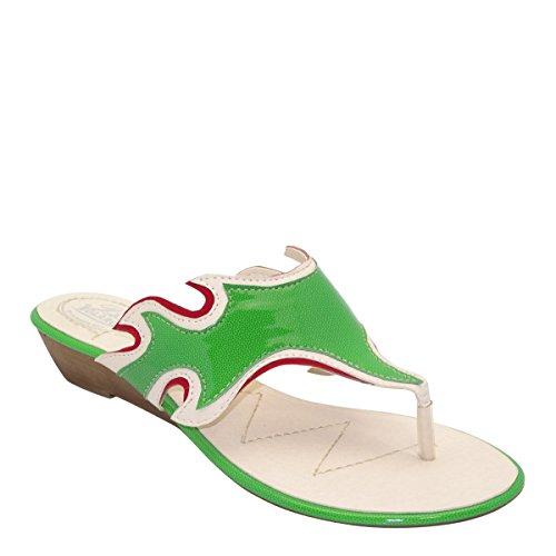 Nuovo Brieten Womens Cut-out Infradito Basso Zeppa Infradito Sandali Comfort Verde