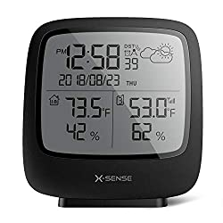 X-Sense Wireless Weather Station with 500 ft Wireless Range, Large Backlit LCD, Atomic Clock, Accurate Temperature and Humidity Monitor, Weather Forecast