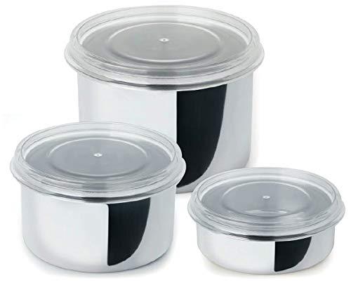 Conjunto 3 Potes De Aço Inox Com Tampa Branca