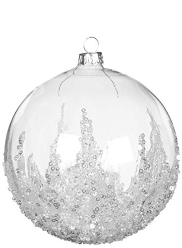 Sullivans Clear Bead Sequined 5 Inch Glass Hanging Christmas Ball Ornament (Glass Ornaments Santa Claus)