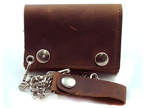 rown Leather Trifold Chain Wallet 4