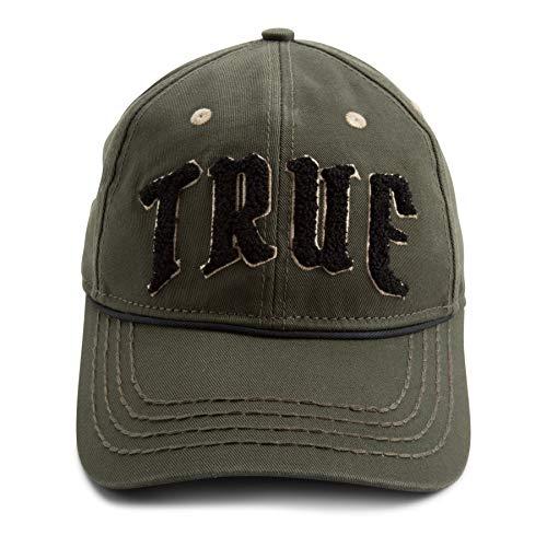 - True Religion Men's Chenille Logo Baseball Cap, Militant Green, OSFA