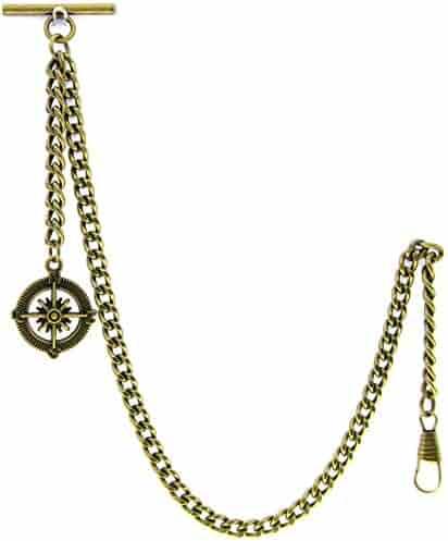 Albert Chain Pocket Watch Curb Link Chain Antique Brass Plating Fob T Bar AC09
