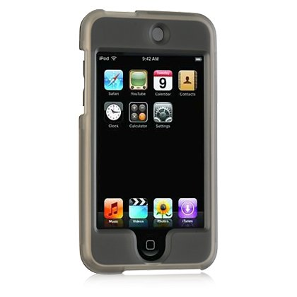 Crystal Smoke Transparent Rubber Feel Snap-On Cover Hard Case Mp3 Player Protector for Apple iPod Touch iTouch i-Touch 2 2nd and 3 3rd Generation