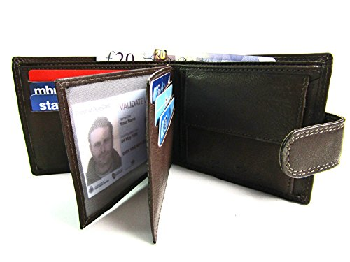 Brown Real Unisex RFID Unisex Boxed Leather Wallet Protected Real qSwgUz