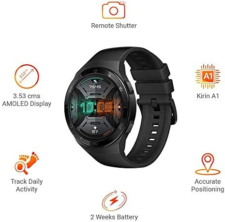 HUAWEI Watch GT 2e Bluetooth SmartWatch, Sport GPS 14 Days Working Fitness Tracker, Heart Rate Tracker, Blood Oxygen Monitor, Waterproof for Android and iOS, 46mm Graphite Black 41AFb2LcZrL