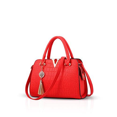 Red amp;Doris Purse Satchel Nicole Women Handbag Leather Bag Fashion PU Black Crossbody Shoulder Zpxwnqx7d4